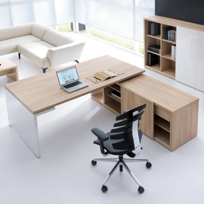 bureau de direction mito avec armoire desserte. Black Bedroom Furniture Sets. Home Design Ideas