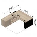 Bureau Direction Mito avec armoire desserte - réglable en hauteur