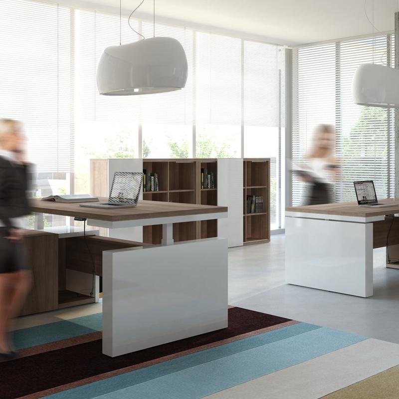 Bureau Direction Mito réglable en hauteur - avec armoire desserte