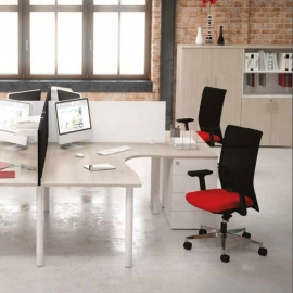 Bureau collaborateur Easy Fit - Plan compact 90 - Asymétrique