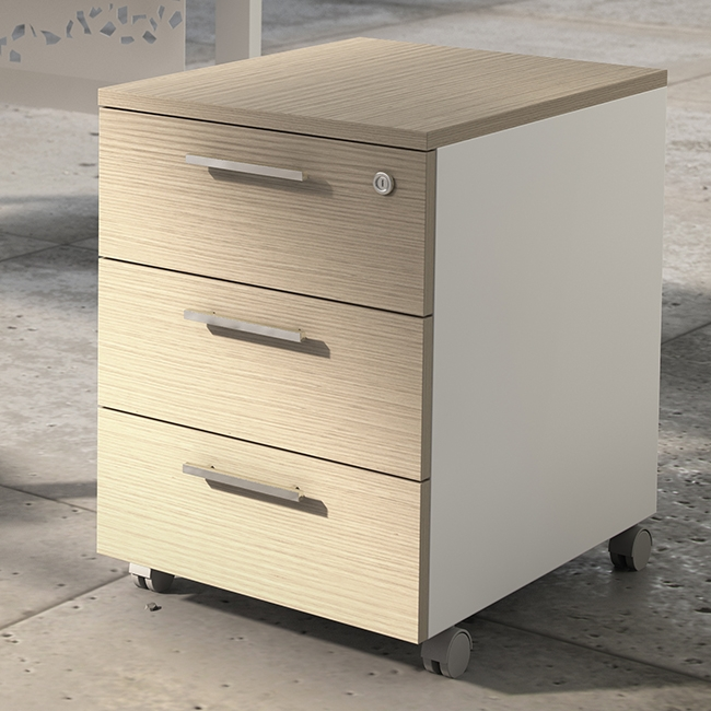 caisson mobile 3 tiroirs m lamin. Black Bedroom Furniture Sets. Home Design Ideas