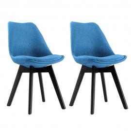 Chaise Scandinave Tissu bleu et piet. noir